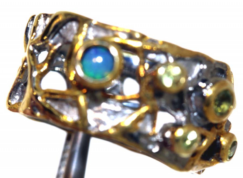 33.40 CTS  OPAL AND GEMSTONE RING STERLING SILVER OF-2605