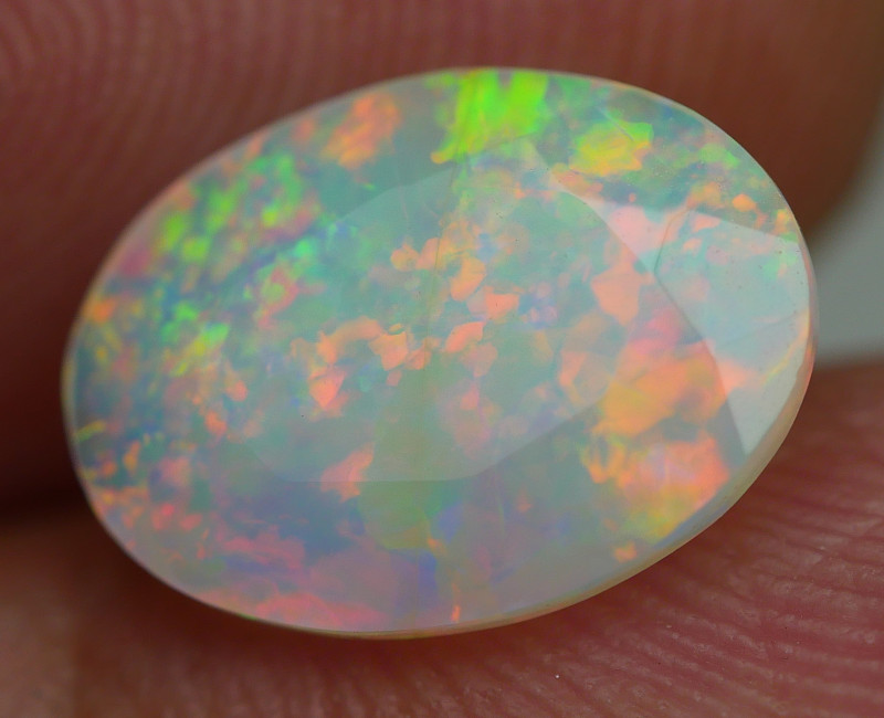 1.45 CRT ( CRACK ) BEAUTY FACETED RIBBON FLORAL PLAY COLOR WELO OPAL