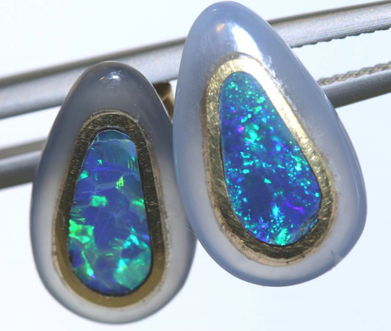 12.45 CTS OPAL INLAY GOLD EARRINGS OF-2612