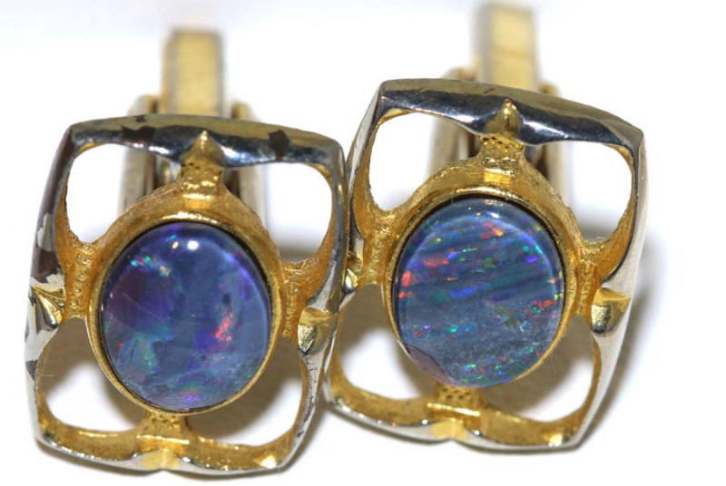 45.65 CTS TRIPLET OPAL CUFF LINKS OF-2614