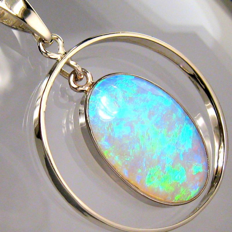 Rare Australian Solid Opal Pendant 14k White Gold Jewelry 11.8ct Gem Gift #