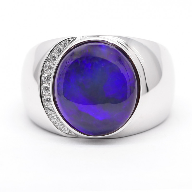 925 ST/ SILVER RHODIUM PLATED BLACK OPAL RING [CR10]