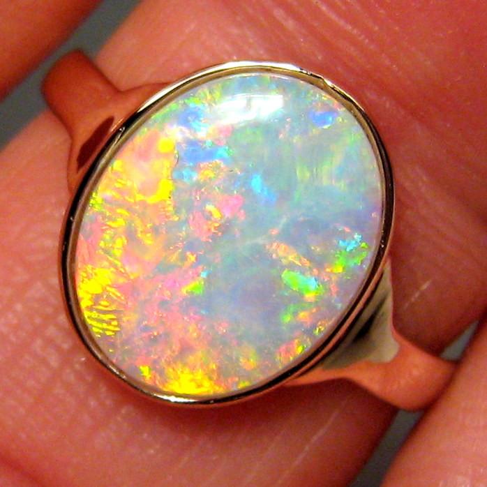 Solid Opal Ring Natural Australian Gemstone 14k Rose Gold Size 7 Rare Gem #