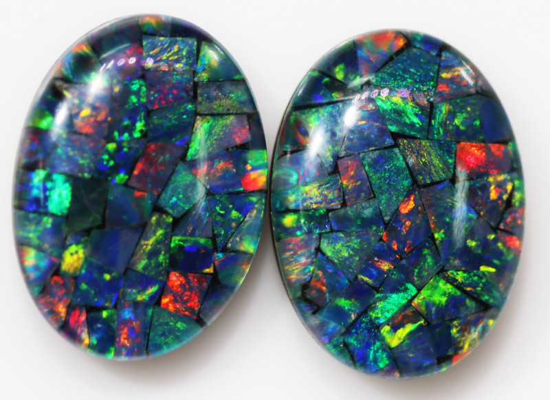 18.50 CTS 18 X 13 MM  LARGE  MOSAIC TRIPLET PAIR. [REL6]
