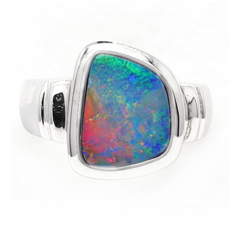925 ST/ SILVER RHODIUM PLATED DOUBLET OPAL RING [CR04]