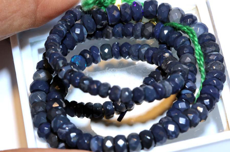 50.70CTS  L RIDGE BLACK OPAL FACETED BEADS STRAND TBO-9566