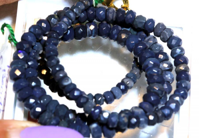 51.40CTS  L RIDGE BLACK OPAL FACETED BEADS STRAND TBO-9569