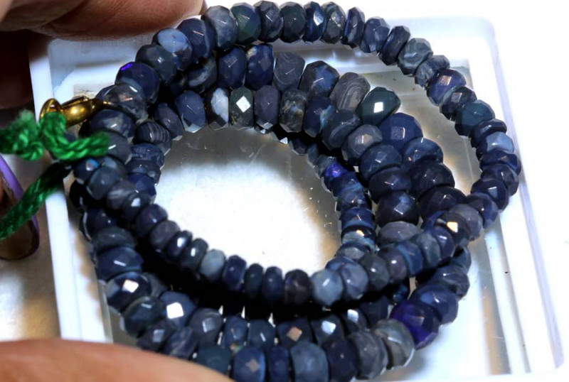 55.20CTS  L RIDGE BLACK OPAL FACETED BEADS STRAND TBO-9570