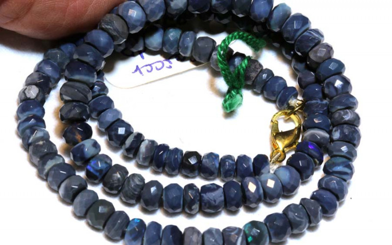 87.20CTS  L RIDGE BLACK OPAL FACETED BEADS STRAND TBO-9584