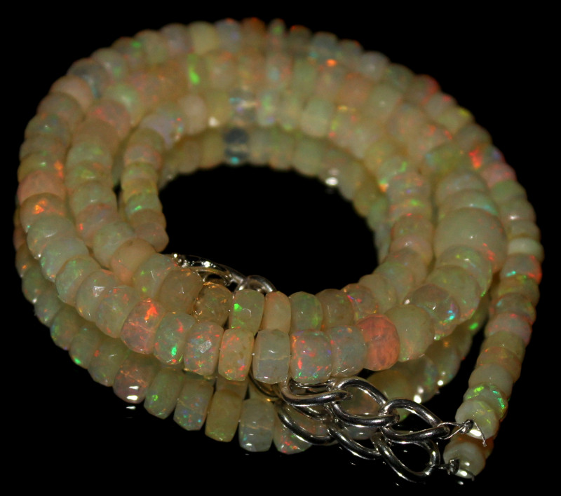85 Crts Natural Ethiopian Welo Faceted Opal Beads Necklace 35