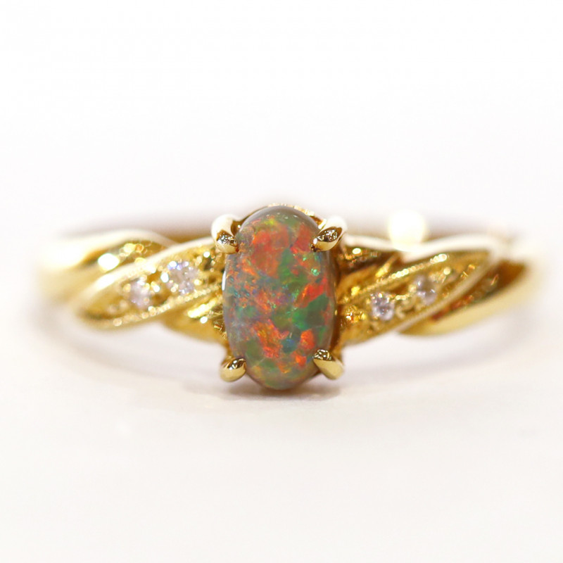 18K GOLD BLACK OPAL RING GOLD [CR17]