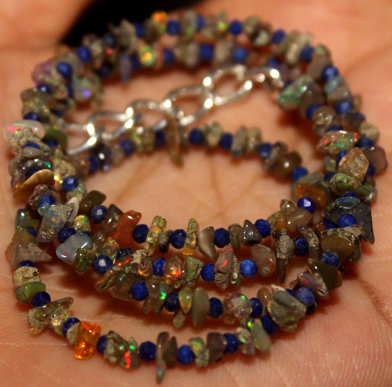 26 Crt Natural Ethiopian Welo Smoked Uncut Opal & Lapis Lazuli Beads 19