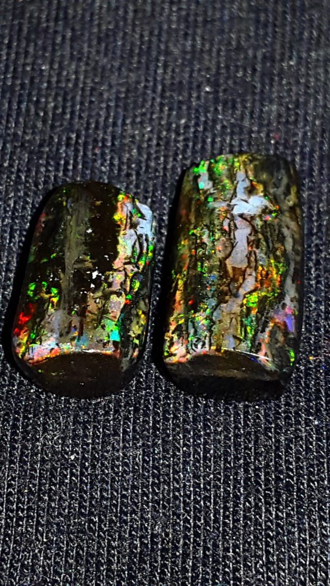 9.00 CRT STUNNING 2 PCS FLOWER PLAY COLOR INDONESIAN OPAL WOOD FOSSIL