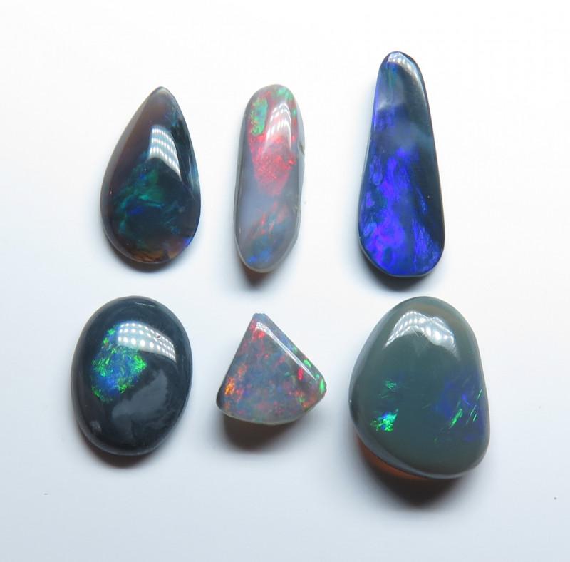 4.56t Lightning Ridge Black Opal 6 Stone Parcel