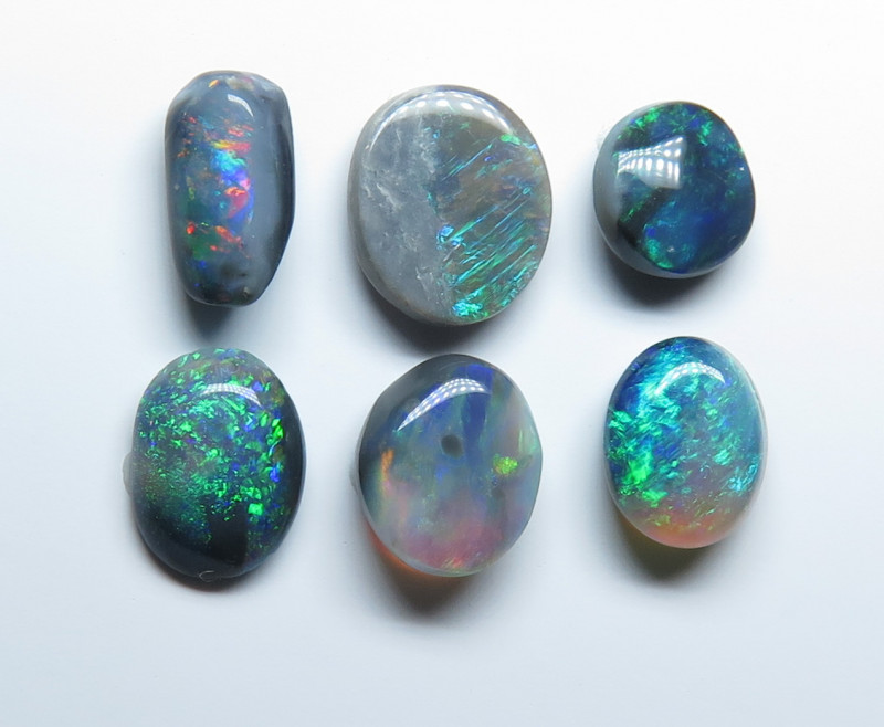 2.71ct Lightning Ridge Black Opal 6 Stone Parcel