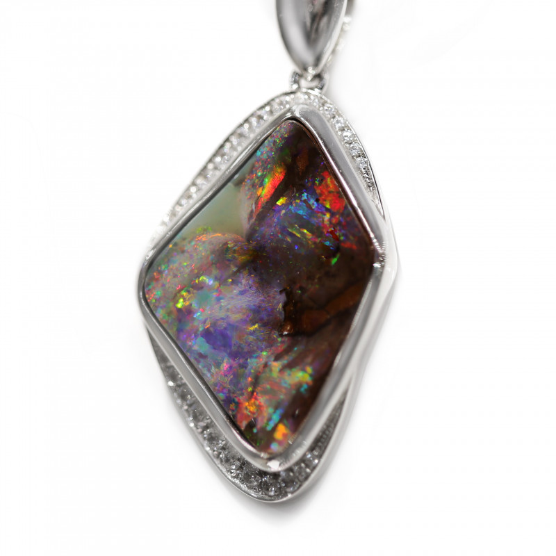 925 ST/ SILVER RHODIUM PLATED OPAL BOULDER PENDANT  [CP84]