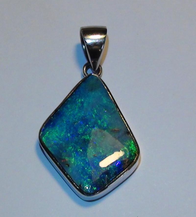 16.55 ct Beautiful Gem Blue Green Color Queensland Boulder Opal Pendant