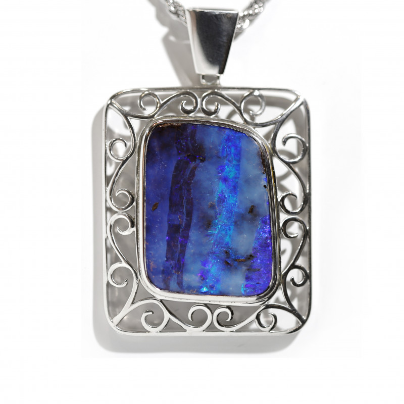 925 ST/ SILVER RHODIUM PLATED OPAL BOULDER PENDANT[CP85]