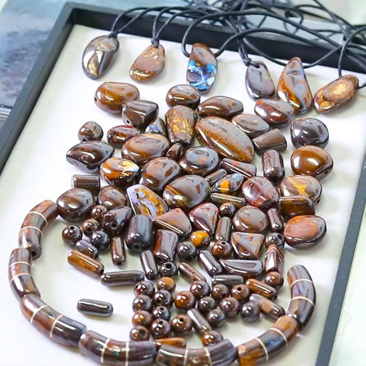 Trade Deal 100 boulder ironstone beads MMM 1720