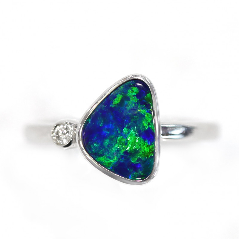 18K GOLD DOUBLET OPAL RING WITH DIAMOND [CR21]