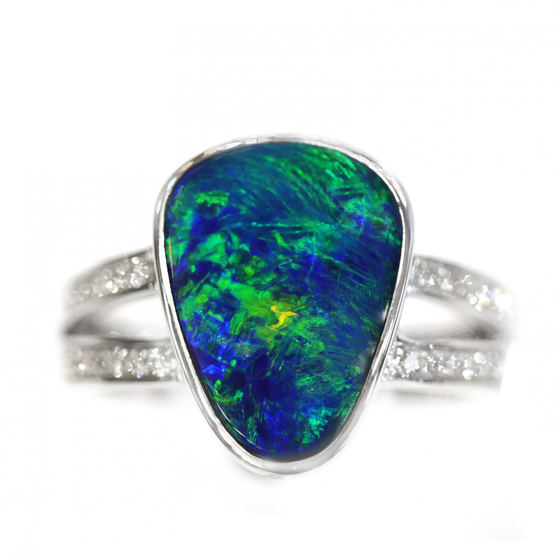 18K GOLD DOUBLET OPAL RING WITH DIAMOND [CR23]