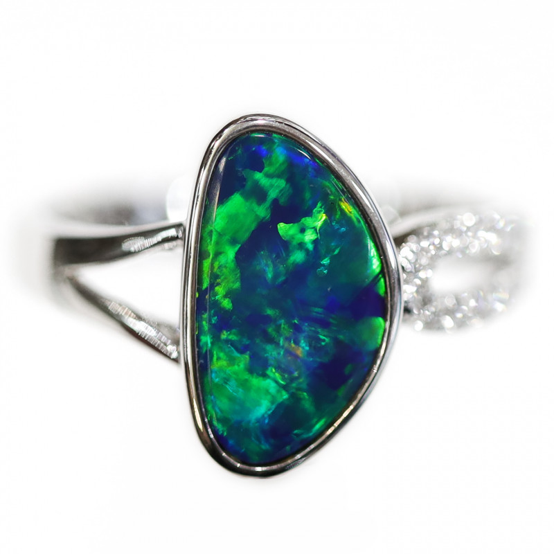 14K GOLD DOUBLET OPAL RING WITH DIAMOND [CR26]
