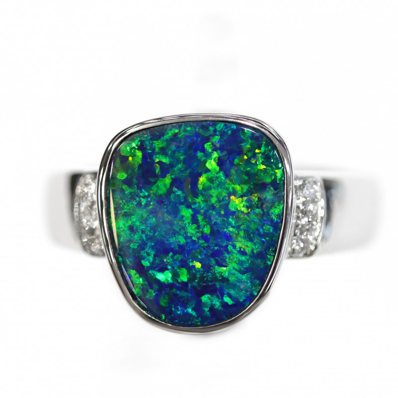 18K GOLD DOUBLET OPAL RING WITH DIAMOND [CR22]