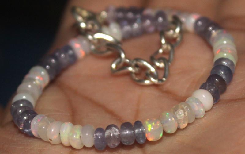 20 Crts Natural Opal & Lapis Lazuli Beads Bracelet 660