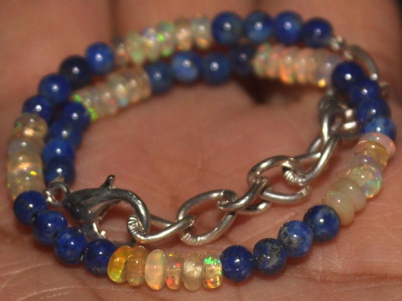 16 Crts Natural Opal & Lapis Lazuli Beads Bracelet 661