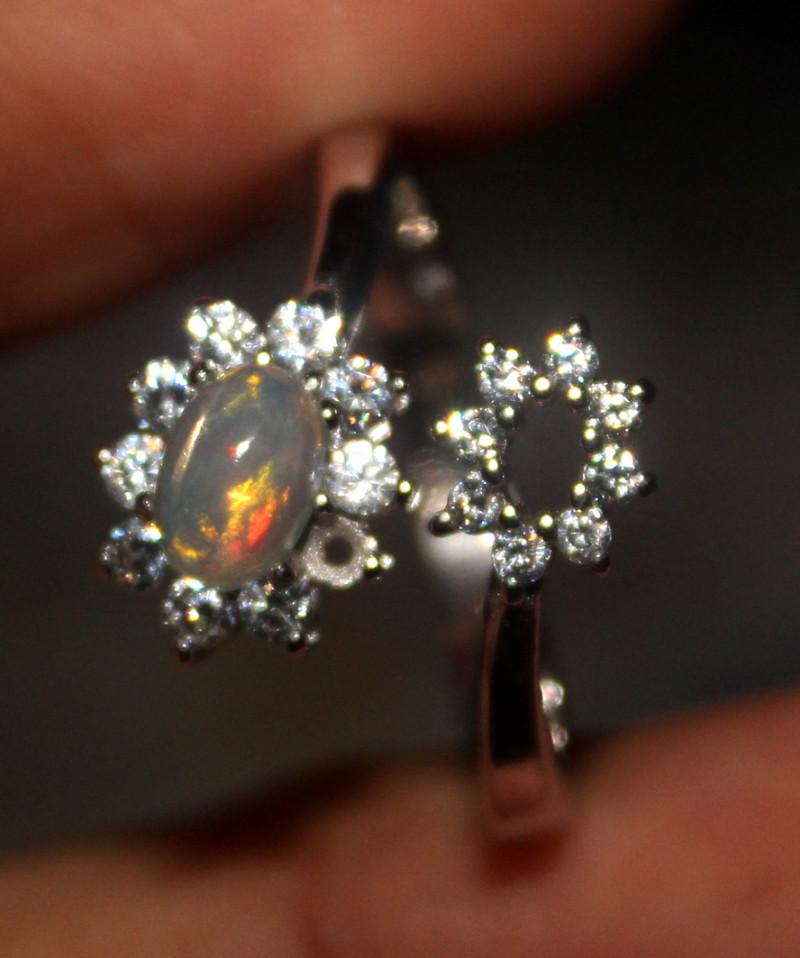 Ethiopian Welo Fire Opal Silver Ring Size US (7) 125