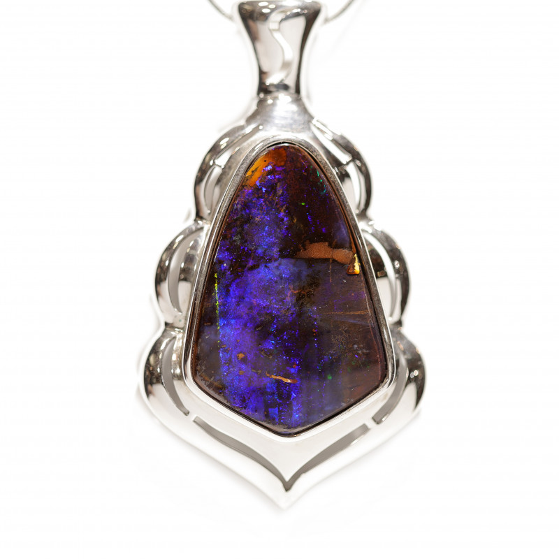 925 ST/ SILVER RHODIUM PLATED OPAL BOULDER PENDANT  [CP89]