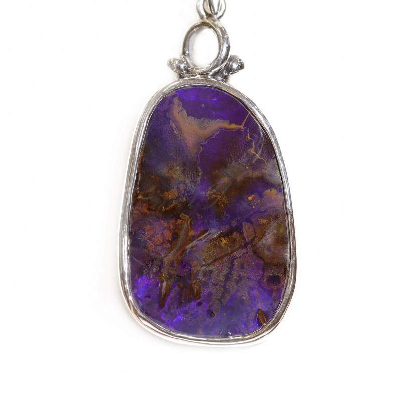 925 ST/ SILVER RHODIUM PLATED OPAL BOULDER PENDANT [CP91]