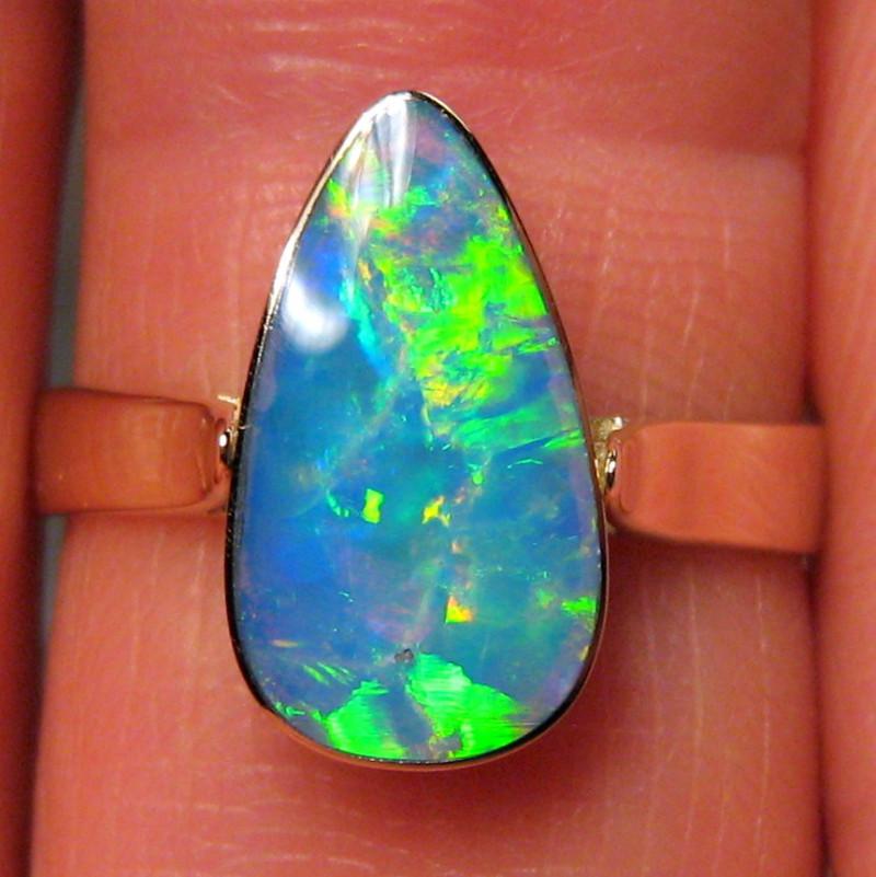 Australian Opal Ring Solid Bright Gem Crystal 2.4g 14k Gold Natural Gemston