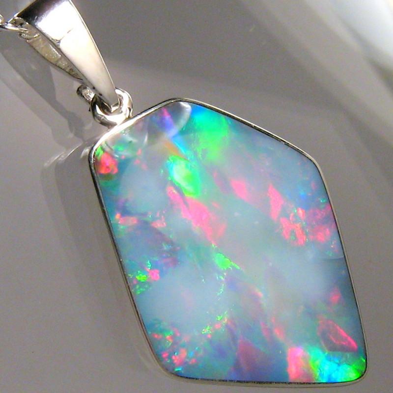 Opal Pendant Genuine Rare Natural Australian Silver Jewelry 9.4ct Necklace