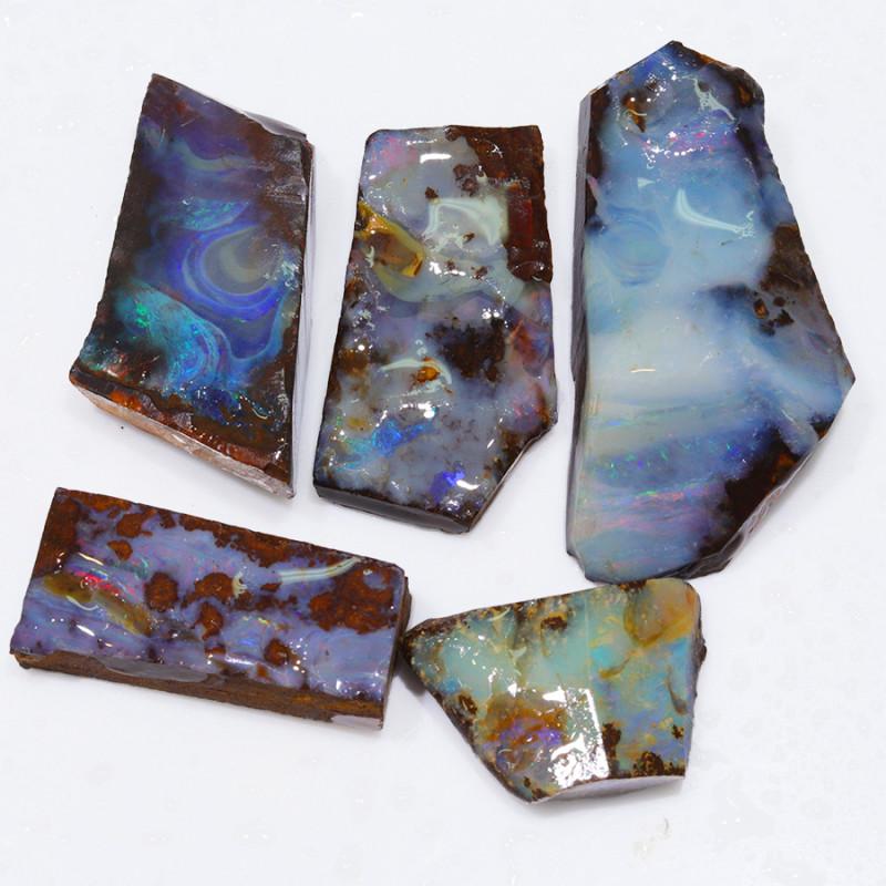 244.20CTS  Boulder Opal Rough/Rub Pre-Shaped PARCEL --  S1179