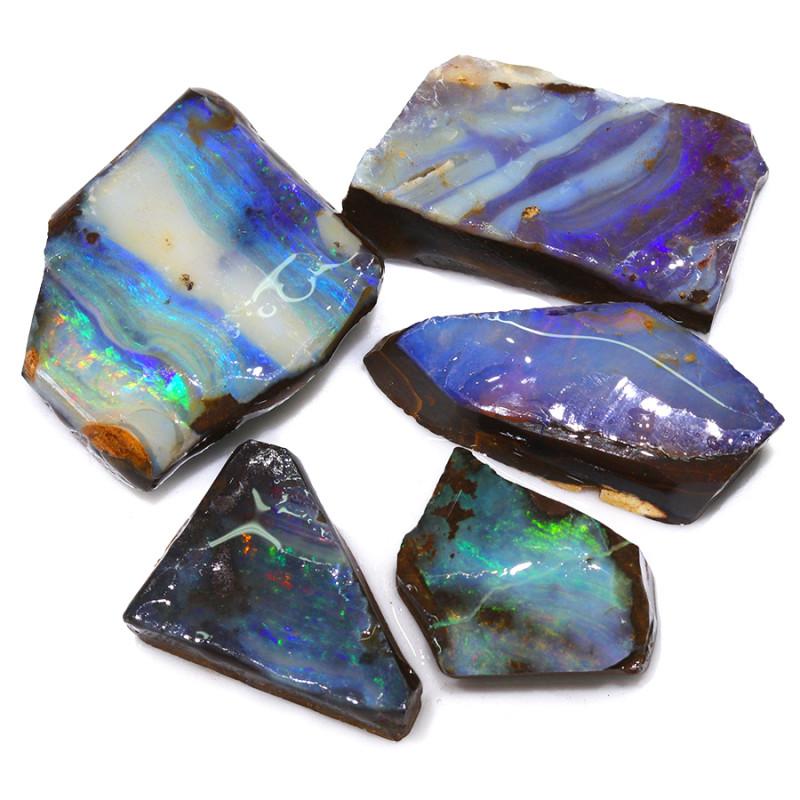 158.10CTS  Boulder Opal Rough/Rub Pre-Shaped PARCEL --  S1191