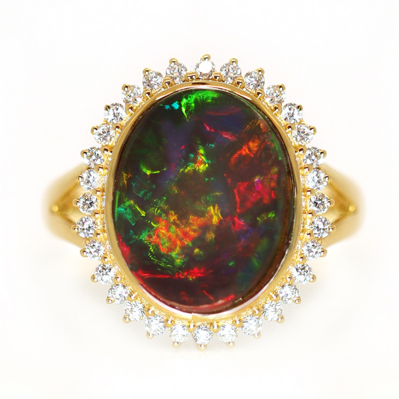 18K GOLD BLACK OPAL RING GOLD AND DIAMOND [CR33]