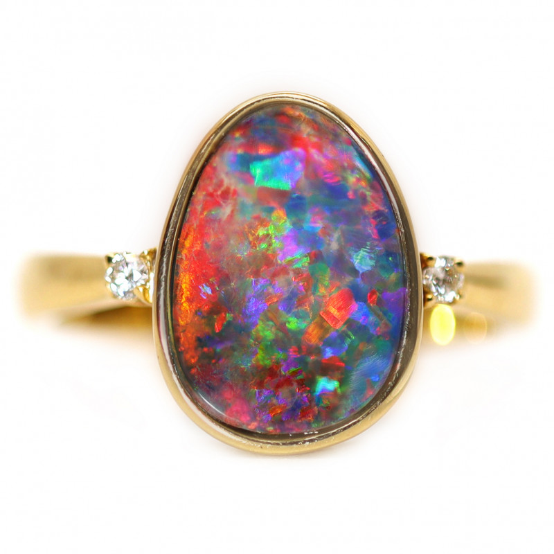 14K GOLD DOUBLET OPAL RING WITH DIAMOND [CR35]