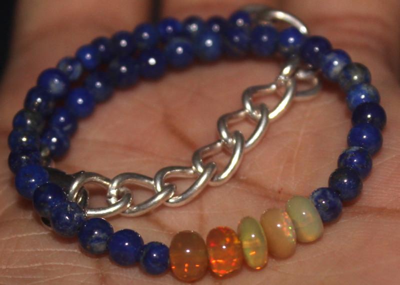 23 Crts Natural Welo Opal & Lapis Lazuli Beads Bracelet 694