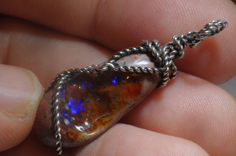 16.84ct Mexican Solid Opal .925 Silver Pendant