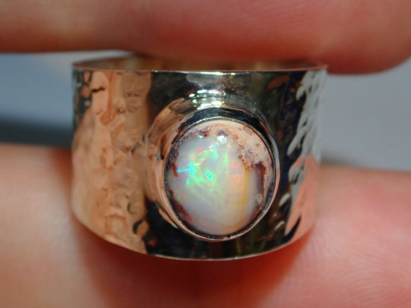 Mexican Matrix  Opal & .925 Hammered Sterling Ring