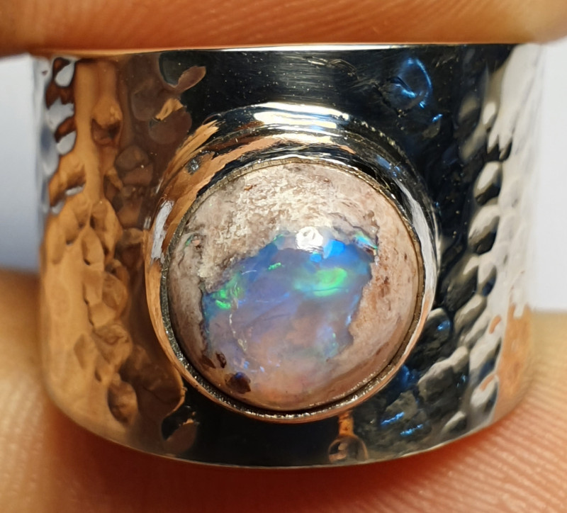 6.5 Mexican Matrix  Opal & .925 Hammered Sterling Ring