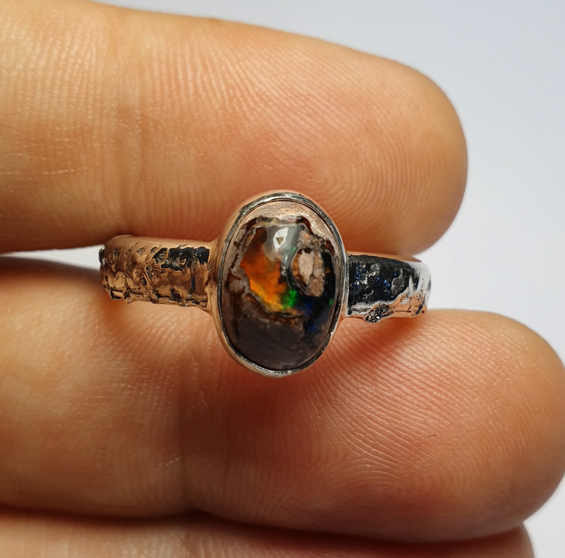 8.25 Mexican Matrix Opal & .925 Hammered Sterling Ring