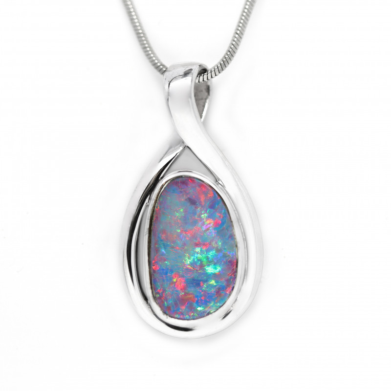 Opal Doublet 925 Silver Rhodium Plated Pendant [CP95]