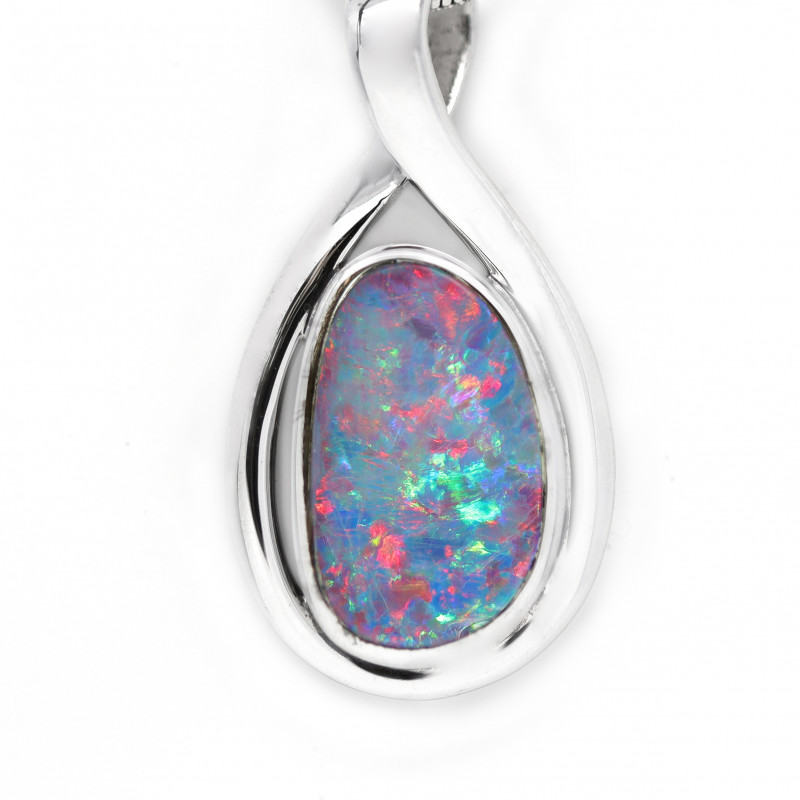 925 ST/ SILVER RHODIUM PLATED OPAL DOUBLET PENDANT [CP95]