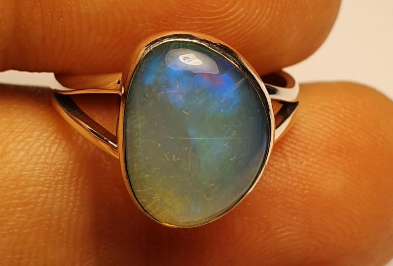 5.5sz Water Base Blazing Welo Solid Opal Ring