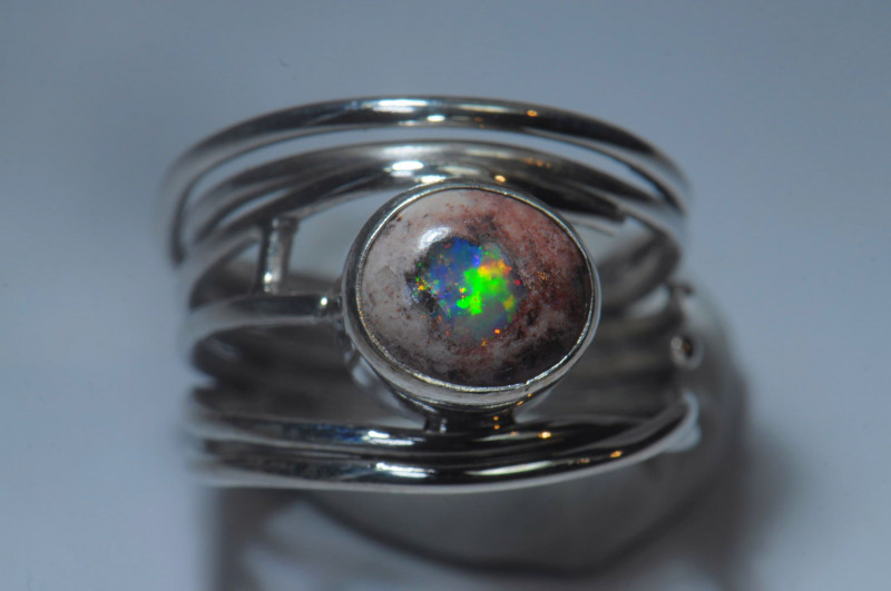 6.5sz Sterling Silver Blazing Mexican Solid Opal Ring