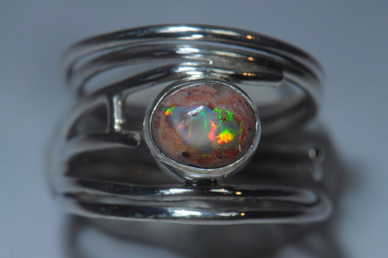 Size 8  Cantera Opal sterling silver ring