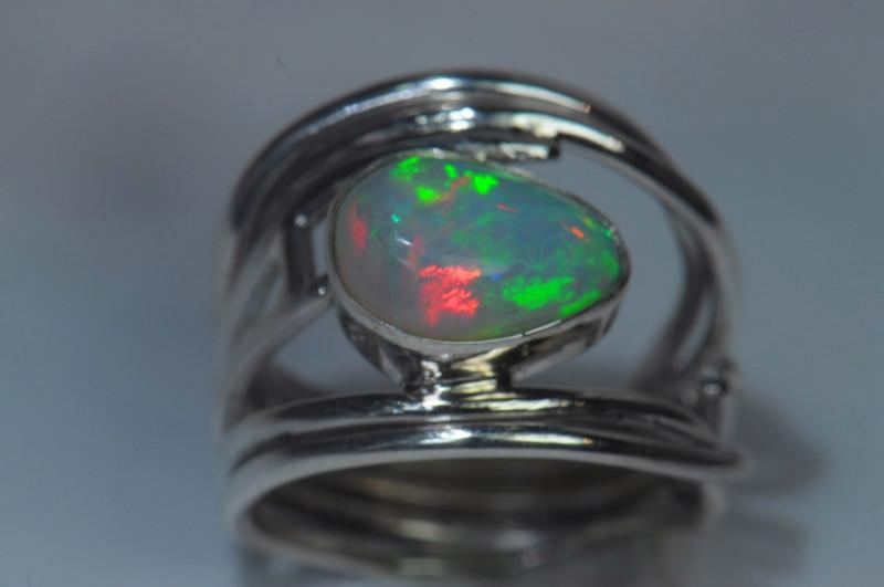 5sz Sterling Silver Blazing Welo Solid Opal Ring