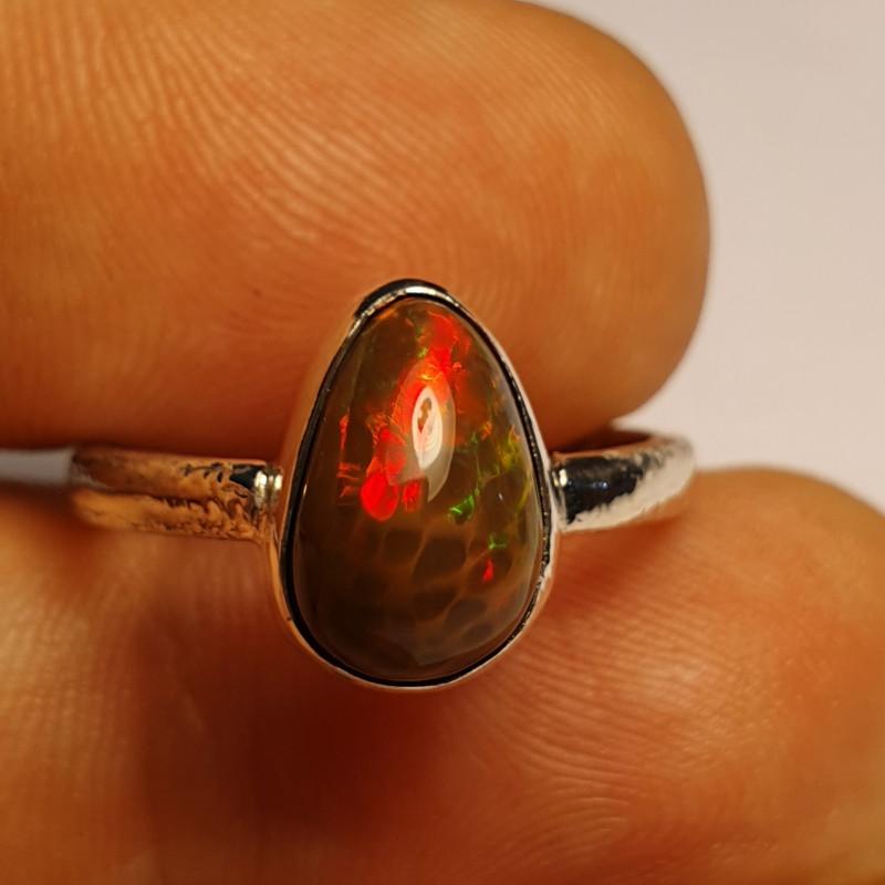 6.5sz Sterling Silver Blazing Welo Solid Opal Ring